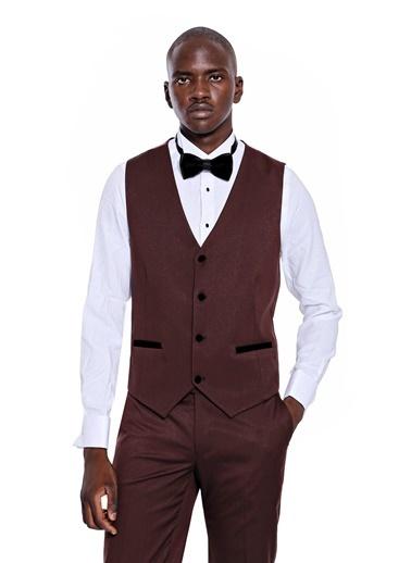 Wessi Erkek Yelekli Damatlık Slim Fit Takım Elbise Bordo